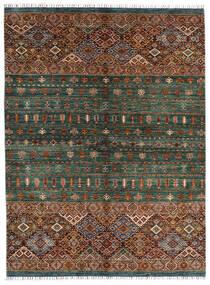 Shabargan Tæppe 180X240 Ægte Moderne Håndknyttet Sort/Mørkegrøn (Uld, Afghanistan)