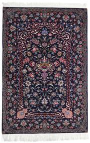 Isfahan Silketrend Tæppe 110X160 Ægte Orientalsk Håndknyttet Sort/Mørkelilla (Uld/Silke, Persien/Iran)