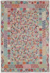 Kelim Afghan Old Style Tæppe 205X297 Ægte Orientalsk Håndvævet Lysegrå/Lyserød (Uld, Afghanistan)