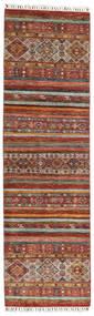 Shabargan Tæppe 85X296 Ægte Moderne Håndknyttet Tæppeløber Mørkebrun/Rød (Uld, Afghanistan)