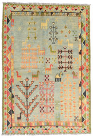 Moroccan Berber - Afghanistan Tæppe 100X200 Ægte Moderne Håndknyttet Lysegrå/Mørk Beige/Lysgrøn (Uld, Afghanistan)