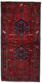 Hamadan Tæppe 103X209 Ægte Orientalsk Håndknyttet Mørkerød (Uld, Persien/Iran)