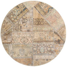 Patchwork - Persien/Iran Tæppe Ø 150 Ægte Moderne Håndknyttet Rundt Lysegrå/Beige (Uld, Persien/Iran)