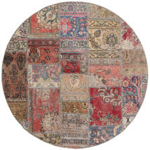 Patchwork - Persien/Iran Tæppe Ø 150 Ægte Moderne Håndknyttet Rundt Brun/Lysegrå (Uld, Persien/Iran)