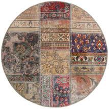 Patchwork - Persien/Iran Tæppe Ø 100 Ægte Moderne Håndknyttet Rundt Lysegrå/Lysebrun (Uld, Persien/Iran)