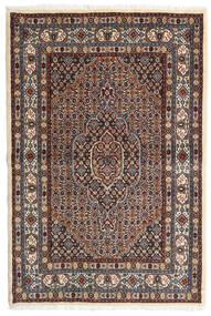 Moud Tæppe 98X147 Ægte Orientalsk Håndknyttet Mørkebrun/Mørkerød (Uld/Silke, Persien/Iran)