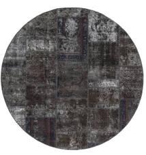 Patchwork - Persien/Iran Tæppe Ø 200 Ægte Moderne Håndknyttet Rundt Sort/Brun (Uld, Persien/Iran)
