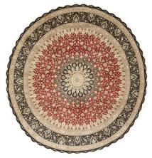 Ghom Silke Tæppe Ø 203 Ægte Orientalsk Håndknyttet Rundt Lysebrun/Mørk Beige (Silke, Persien/Iran)