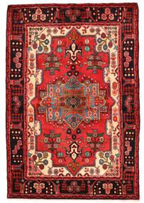 Nahavand Tæppe 136X200 Ægte Orientalsk Håndknyttet Mørkerød/Sort (Uld, Persien/Iran)