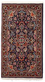 Kerman Tæppe 87X157 Ægte Orientalsk Håndknyttet Mørkerød/Sort (Uld, Persien/Iran)