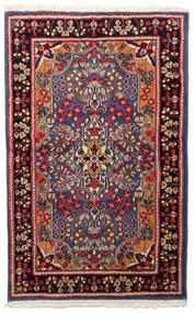 Kerman Tæppe 91X148 Ægte Orientalsk Håndknyttet Mørkerød/Sort (Uld, Persien/Iran)