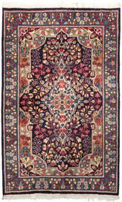 Kerman Tæppe 92X147 Ægte Orientalsk Håndknyttet Mørkelilla/Mørkerød (Uld, Persien/Iran)
