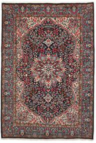 Kerman Tæppe 206X301 Ægte Orientalsk Håndknyttet Sort/Mørkebrun (Uld, Persien/Iran)