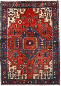 Nahavand Tæppe 133X193 Ægte Orientalsk Håndknyttet Sort/Mørkerød (Uld, Persien/Iran)