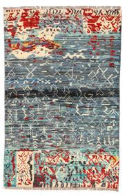 Moroccan Berber - Afghanistan Tæppe 89X140 Ægte Moderne Håndknyttet Lysegrå/Blå (Uld, Afghanistan)
