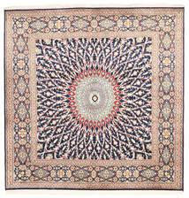 Kashmir Pure Silke Tæppe 184X187 Ægte Orientalsk Håndknyttet Kvadratisk Lysegrå/Beige (Silke, Indien)