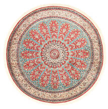 Kashmir Pure Silke Tæppe Ø 184 Ægte Orientalsk Håndknyttet Rundt Beige/Lysegrå (Silke, Indien)