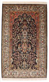 Kashmir Pure Silke Tæppe 82X132 Ægte Orientalsk Håndknyttet Sort/Mørkebrun (Silke, Indien)