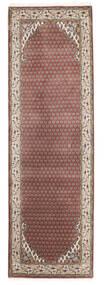 Mir Indisk Tæppe 79X251 Ægte Orientalsk Håndknyttet Tæppeløber Mørkerød/Lysegrå (Uld, Indien)