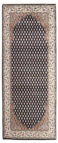 Mir Indisk Tæppe 80X200 Ægte Orientalsk Håndknyttet Tæppeløber Lysegrå/Mørkelilla (Uld, Indien)