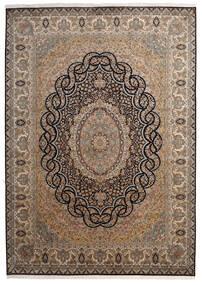 Kashmir Pure Silke Tæppe 218X307 Ægte Orientalsk Håndknyttet Brun/Mørkegrå (Silke, Indien)