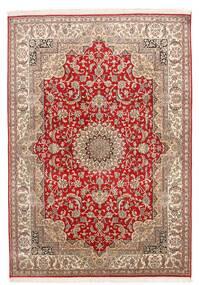 Kashmir Pure Silke Tæppe 152X219 Ægte Orientalsk Håndknyttet Mørkerød/Mørkebrun (Silke, Indien)