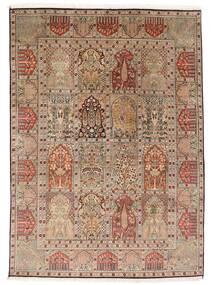 Kashmir Pure Silke Tæppe 151X210 Ægte Orientalsk Håndknyttet Brun/Lysebrun (Silke, Indien)