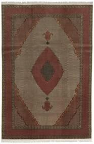 Tabriz 60 Raj Silketrend Tæppe 200X300 Ægte Orientalsk Håndknyttet Mørkerød/Mørkebrun (Uld/Silke, Persien/Iran)