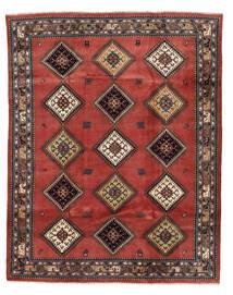 Yalameh Tæppe 196X247 Ægte Orientalsk Håndknyttet Mørkebrun/Mørkerød (Uld, Persien/Iran)