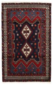 Afshar/Sirjan Tæppe 112X177 Ægte Orientalsk Håndknyttet Mørkerød/Mørkegrå (Uld, Persien/Iran)