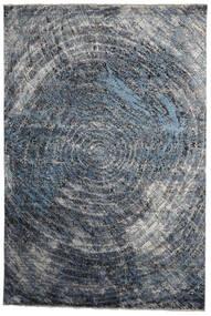 Damask Indisk Tæppe 237X353 Ægte Moderne Håndknyttet Mørkegrå/Lyseblå (Uld/Bambus Silke, Indien)