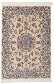 Nain 9La Tæppe 99X145 Ægte Orientalsk Håndknyttet Lysebrun/Sort (Uld/Silke, Persien/Iran)